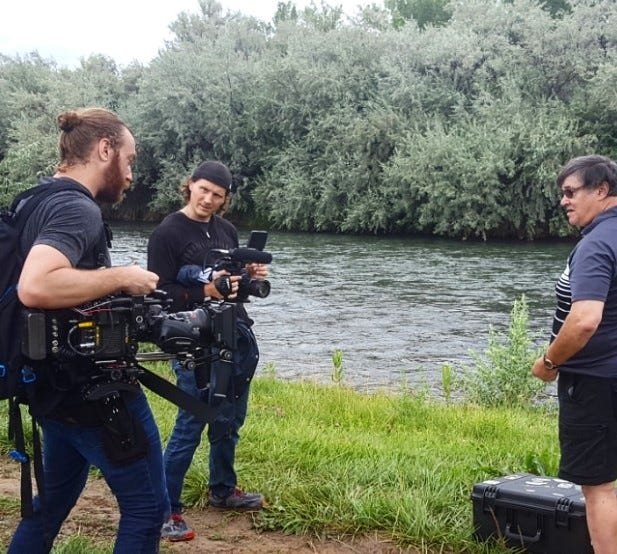 """A crew from the History channel program """"MonsterQuest"""" shoots footage on the Majestic Enchantment Fly Fishing on the San Juan River property on Aug. 11, 2019, in Blanco."""