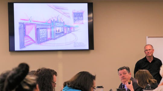 Chris Harrelson, senior director of the physical plant at San Juan College, presents proposed designs for the renovation of the San Juan College Little Theatre at the College Board's work session on Feb. 4, 2020, in Farmington.