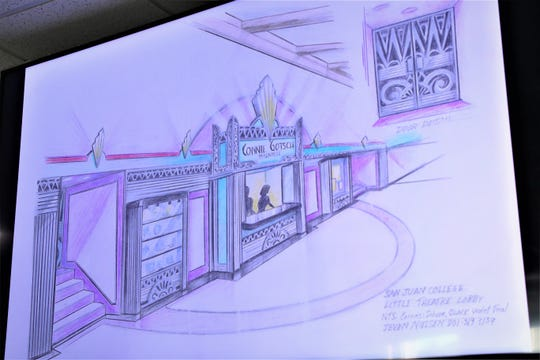 A close-up of the proposed designs for the renovation of the San Juan College Little Theatre, to be renamed the Connie Gotsch Theatre, were displayed at the San Juan College board's work session on Feb. 4, 2020, in Farmington.
