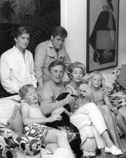 Kirk Douglas and family in the mid-1960s. Clockwise from lef are the late Eric Douglas, Michael Douglas, Joel Douglas, Peter Douglas, Anne Douglas and Kirk.