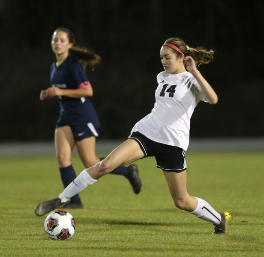 Pensacola High's Sophia Witkin dribbles during the Tigers' 3-2 win over Arnold in the District 1-4A championship on Feb. 4, 2020 in Panama City.