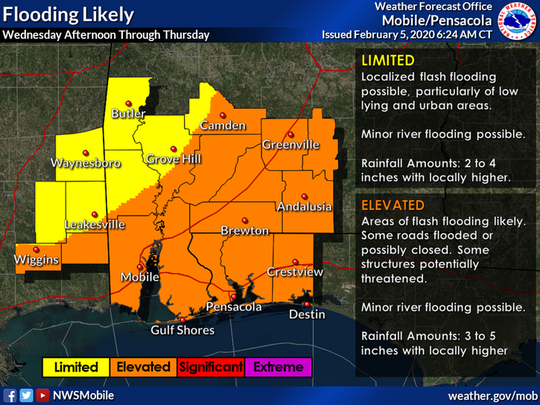 Areas of flash flooding are likely across much of the area on Wednesday afternoon through Thursday as multiple rounds of heavy rain is expected.