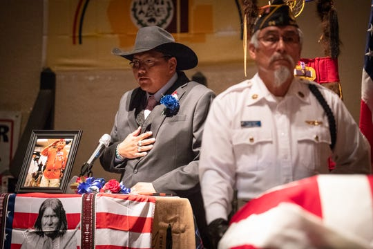 Eric Nez speaks during the funeral service for his grandfather, Navajo Code Talker Joe Vandever Sr., on Feb. 5, 2020, at the El Morro Theatre in Gallup, New Mexico.