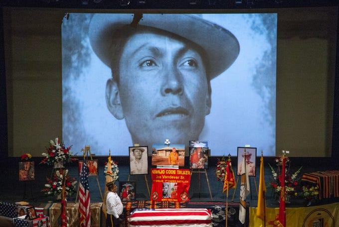 The funeral service for Navajo Code Talker Joe Vandever Sr. on Feb. 5, 2020, at the El Morro Theatre in Gallup, New Mexico.