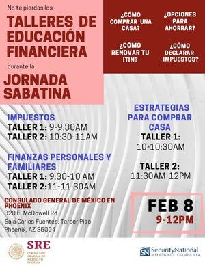 El próximo 8 de febrero el Consulado de México en Phoenix realizará talleres de educación financiera durante la segunda jornada sabatina del año.