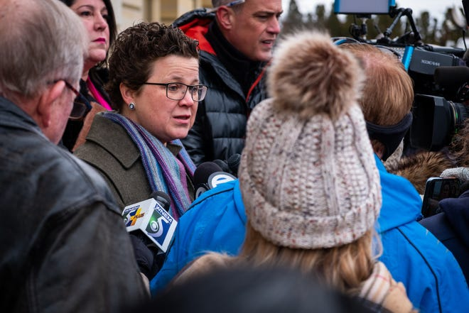 ACLU of Michigan Senior Staff Attorney Miriam Aukerman  addresses the media after a press conference in the U.S. Courthouse Wednesday, Feb. 5, 2020, in Port Huron.
