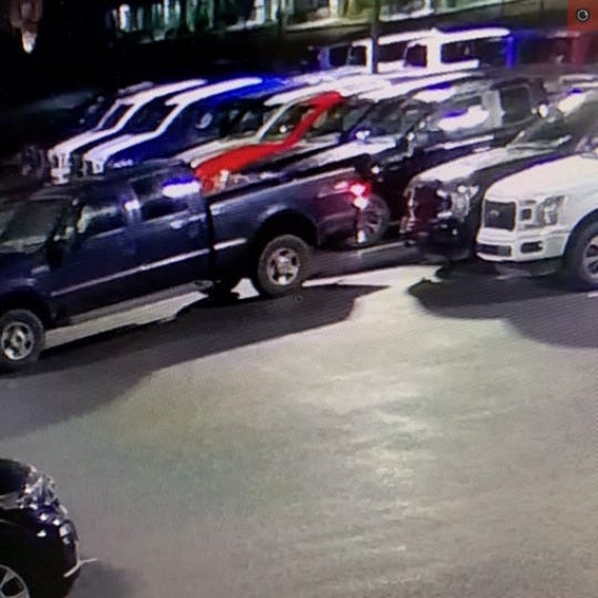 A blue four-door Ford pickup truck was seen on the property of Keystone Ford, Chambersburg, around the time tires and wheels were stolen off four trucks early on Feb. 5, 2020, Chambersburg police say.
