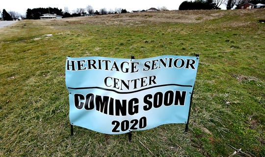 A sign marks the location of the new site of Dover's Heritage Senior Center, Wednesday, Feb. 5, 2020, on Donwood Drive in Dover Township. Bill Kalina photo