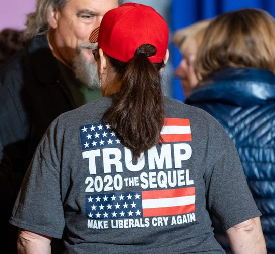 Supporters enter the Radisson Hotel in Harrisburg, Pennsylvania for the Women For Trump Rally, Wednesday, February 5, 2020.