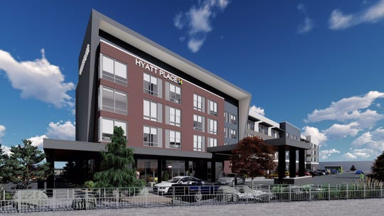 Renderings of the Hyatt Place hotel to be constructed at The Summit mall in south Reno.