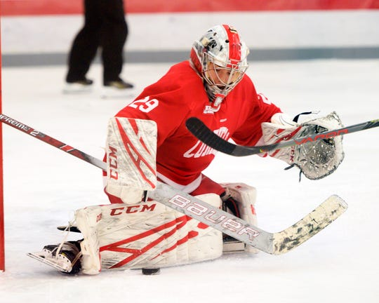 Cornel goalie and Penfield graduate Lindsay Browning makes a save during a game against Ohio State earlier this season. Browning owns a .959 save percentage for the second-ranked Big Red.