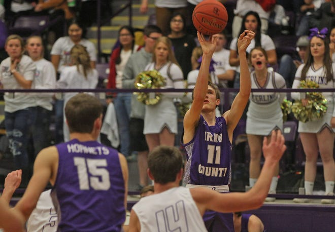 Dawson Sparks, right, puts up a shot for Irion County during a game against Sterling City on Tuesday, Feb. 4, 2020.