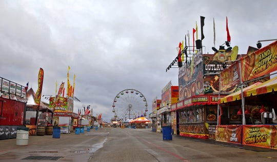 The carnival site at the San Angelo Stock Show and Rodeo is empty Wednesday, Feb. 5, 2020 after winter weather resulted in a closure for the day.