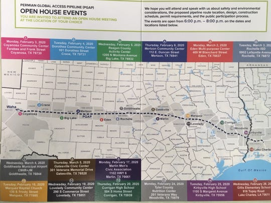Tellurian Inc. plans several open house events to meet the public about the proposed Permian Global Access Pipeline.