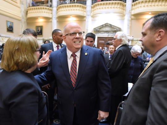 Maryland Gov. Larry Hogan arrives to deliver his annual State of the State address to a joint session of the legislature in Annapolis, Md., Wednesday, Feb. 5, 2020.