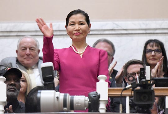 Maryland first lady Yumi Hogan waves before her husband, Gov. Larry Hogan, not pictured, delivers his annual State of the State address to a joint session of the legislature in Annapolis, Md., Wednesday, Feb. 5, 2020.