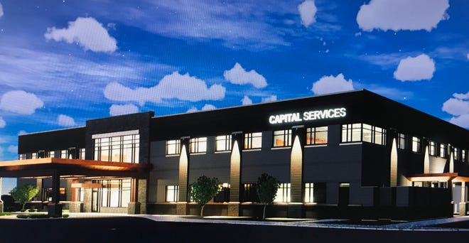 A rendering of the new Capital Services headquarters, a two-story office building planned for Dawley Farm Village.