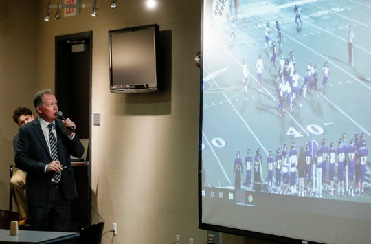 Missouri State University Head Football Coach Bobby Petrino shows film on a recent signee during a signing day event at JQH Arena on Wednesday, Feb. 5, 2020.
