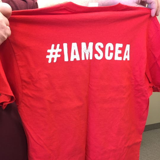 The St. Cloud Education Association has #IAMSCEA T-shirts to show support for the teachers union, shown Friday, Jan. 17, 2020 in St. Cloud.