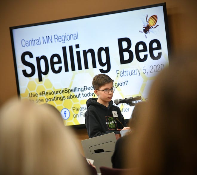 Ben St. Hilaire of St. John's Preparatory School spells a word correctly in the first round of the Central Minnesota Regional Spelling Bee in the morning session Wednesday, Feb. 5, 2020, in Sartell. St. Hilaire spelled contemptuous correctly to win the bee.