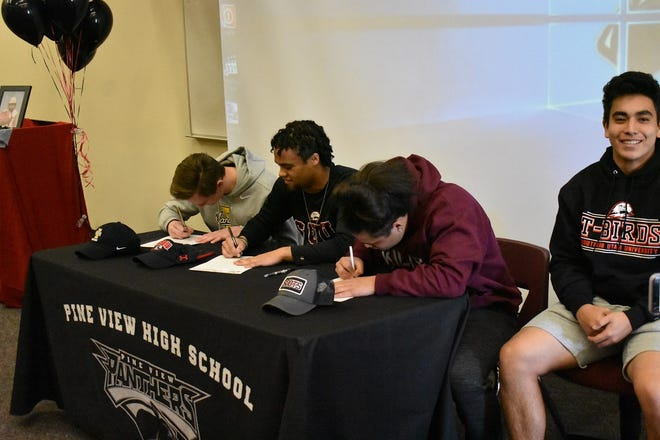 Pine View's Macloud Crowton, Izaiah Moten and Uelese Matavao sign their Letters of Intent on National Signing Day, February 5, 2020.