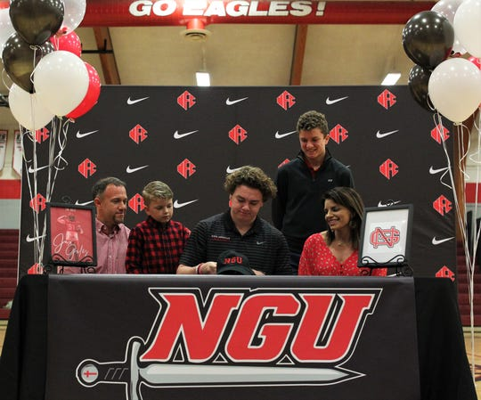 NFC linebacker Jaxon Giles signed with North Greenville University on national signing day, Feb. 5, 2020.