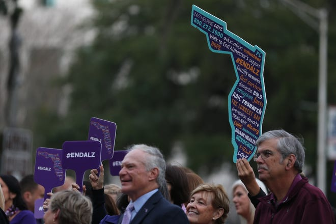 Over 100 people gathered at the Old Capitol for the Alzheimer's Association Rally in Tally purple lighting ceremony Tuesday, Feb. 4, 2020. On June 30, the Florida chapters of the Alzheimer's Association will host a free educational event for people with early-stage dementia, caregivers and the community.