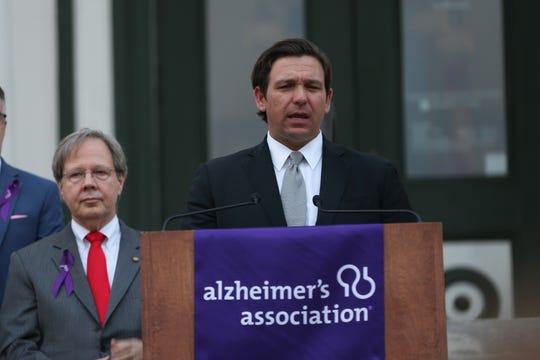 Gov. Ron DeSantis spoke the Alzheimer's Association Rally in Tally purple lighting ceremony Tuesday, Feb. 4, 2020.