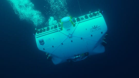 The DSV Limiting Factor, built by Triton Submarines in Sebastian, dives in the Mediterranean Sea recently on a mission to explore the wreck of the French Navy submarine La Minerve, lost in 1968.