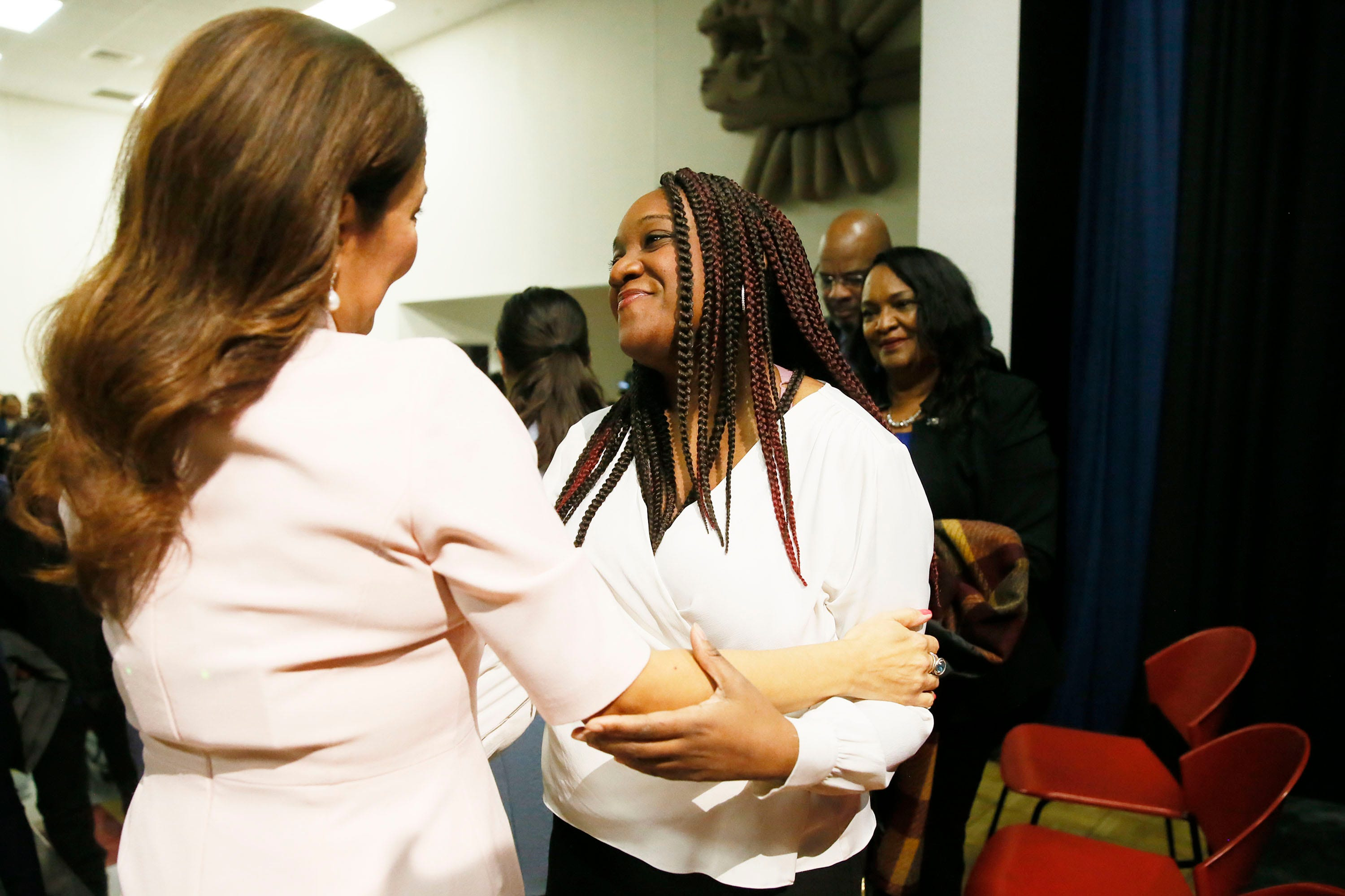 U.S. Rep. Veronica Escobar hugs Michelle Grady, Walmart shooting survivor, after delivers a response in Spanish to President Trump's State of the Union Address Tuesday, Feb. 4, at Centro de Salud Familiar La Fe in El Paso. Michelle attended the rebuttal with her parents Michael and Jane, also survivors of the shooting.