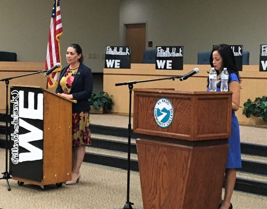 Texas House District 76 candidates Elisa Tamayo, left, and Claudia Ordaz Perez take part in WE(fillintheblank) student group debate on Tuesday, Feb. 4, 2020, in the El Paso Community College board room.