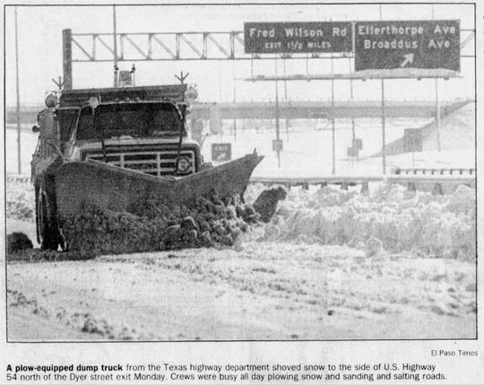12/14/1987 A plow-equipped dump truck from the Texas highway department shoved snow to the side of U.S. Highway 54 north of the Dyer street exit Monday. Crews were busy all day plowing snow and sanding and salting roads.