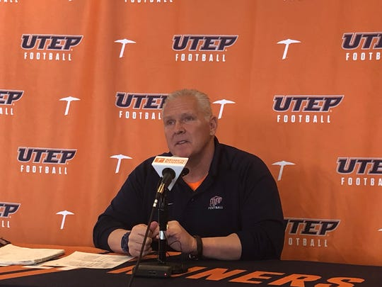 UTEP coach Dana Dimel discusses his latest recruiting class Wednesday at the Durham Center