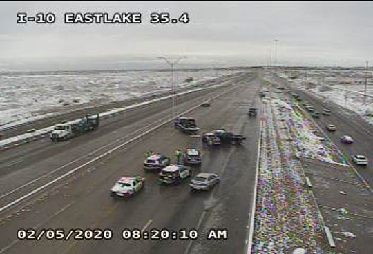 All lanes on I-10 West near Eastlake Boulevard are closed in far East El Paso due to an accident.