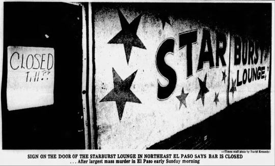 Feb. 4, 1980, photo: The sign on the door of the Starburst Lounge  in Northeast El Paso says the bar is closed after the mass shooting.