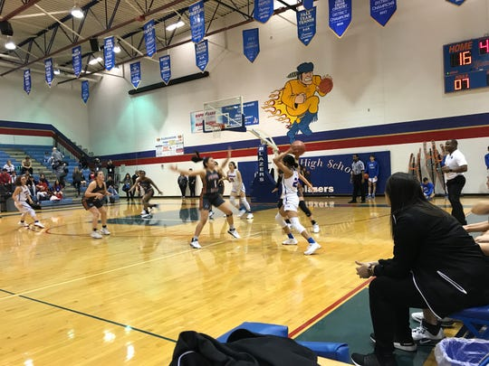 The Pebble Hills girls basketball team beat Americas, 50-41, on Tuesday at Americas High School to improve to 7-1 in District 1-6A.