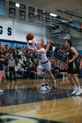 Buena junior Makenna Chasmar drives to the basket during a Pacific View League girls basketball game on Tuesday night at Buena High.