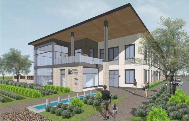 A rendering of an office building that will be built at the site of the old El Rio School.