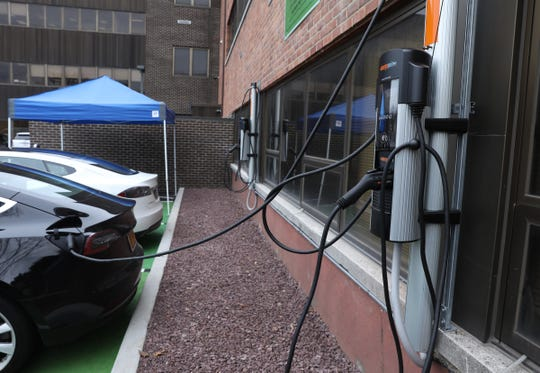 Clarkstown cuts the ribbon on four electric car charging stations at town hall in New City on Wednesday, February 5, 2020.