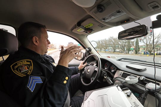 Sergeant Nick Reckson, commanding officer of the Traffic and Safety Unit of the Greenburgh Police Department passes the intersection where a pedestrian was recently struck and killed on Tarrytown Road in Greenburgh, Feb. 5, 2020.
