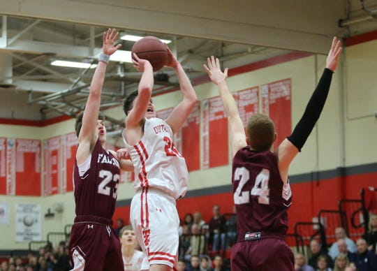 Tappan Zee's Danny Linehan (25) puts a shot over Albertus' Jack Ricciardi (24) during their 54-41 win over Albertus in boys varsity basketball action at Tappan Zee High School in Orangeburg on Tuesday, February 4, 2020.