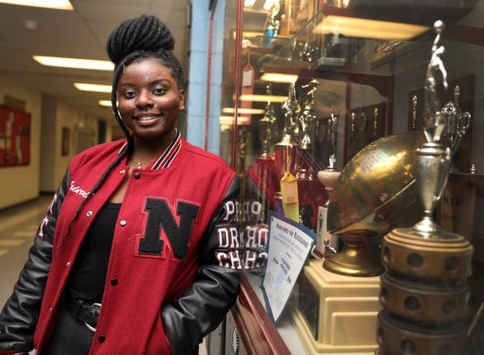 Nyack shot-putter Yvianick Saint-Vil who is the Rockland Scholar-Athlete was photographed at Nyack High School on Feb. 4, 2020.