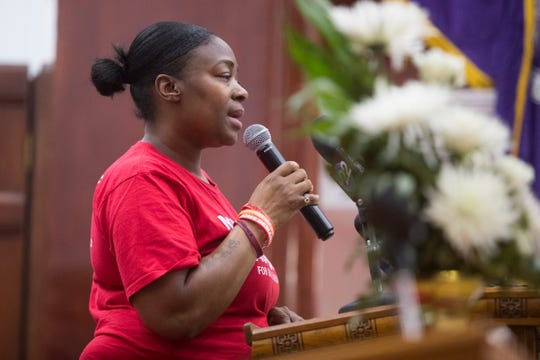 Mother Lanita Brooks, who lost her son to gun violence in Wilmington speaks during a 'Hour of Power' event for National Gun Violence Survivors Week Wednesday at Bethel AME Church in downtown Wilmington.