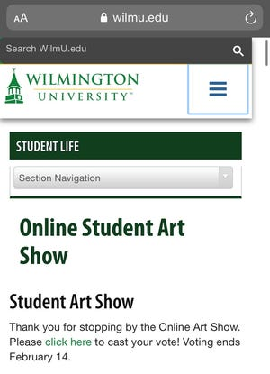 A screenshot of the top of the mobile web page displaying the art show.