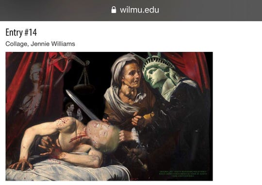 A screenshot of the piece Wilmington University removed from its online art show.