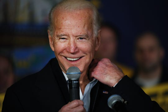 SOMERSWORTH, NEW HAMPSHIRE - FEBRUARY 05: Democratic presidential candidate former Vice President Joe Biden speaks at an event  on February 05, 2020 in Somersworth, New Hampshire. Following his fourth-place finish in the Iowa Caucus, the former vice president is seeking to gather momentum for his candidacy in New Hampshire. (Photo by Spencer Platt/Getty Images)