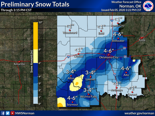Preliminary snow totals as of 3:15 pm.