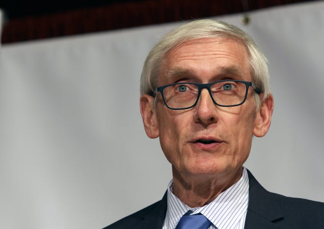 FILE - In this Feb. 4, 2020 photo, Governor Tony Evers addresses farmers at the Wisconsin Farm Bureau Ag Day at the Capitol at Monona Terrace in Madison.