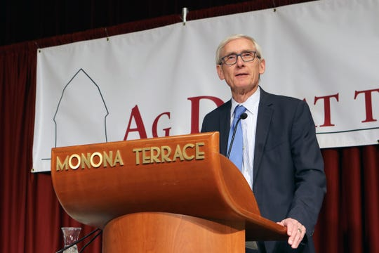 Governor Tony Evers addresses farmers at the Wisconsin Farm Bureau Ag Day at the Capitol at Monona Terrace in Madison on Feb. 4, 2020.