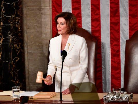 House Speaker Nancy Pelosi gavels in President Donald Trump's State of the Union address on Feb. 4, 2020.